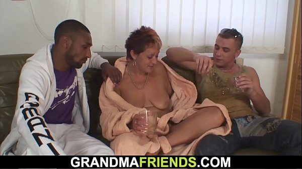 Granny, Double, Double penetration, Interracial granny, Granny interracial